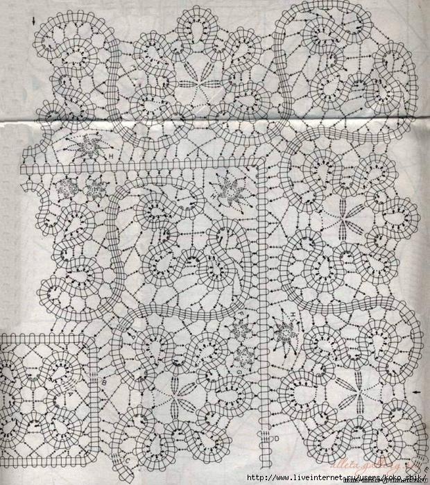 Вязание крючком для салфетки брюггское кружево