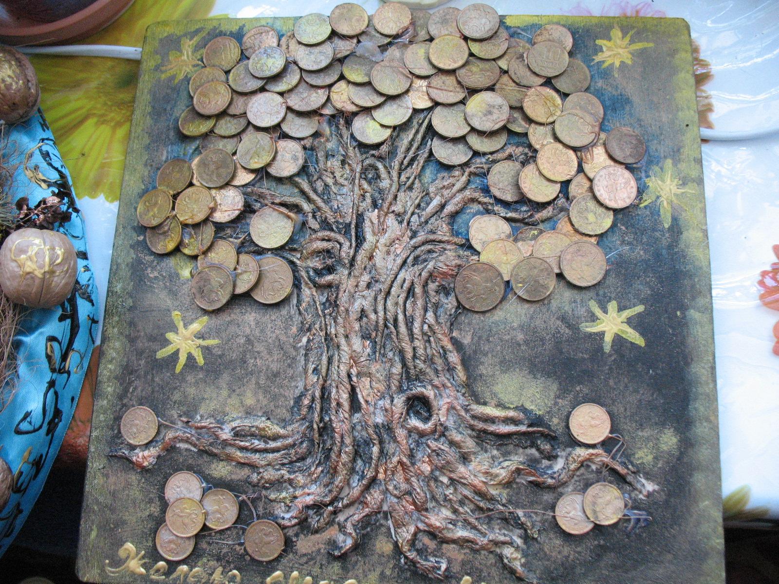 Денежного дерева из монет своими руками видео