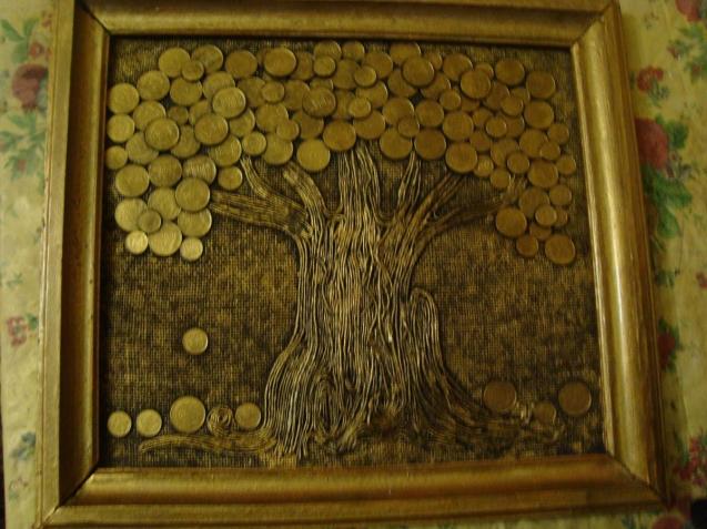Денежное дерево своими руками из монет картина