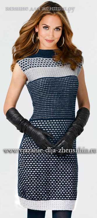 Стильное платье спицами для женщин