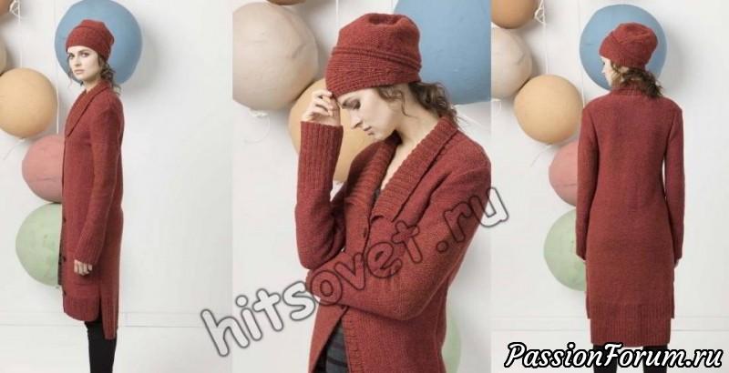 Стильное вязаное пальто, пальто, пальто женское, вязание спицами, хитсовет