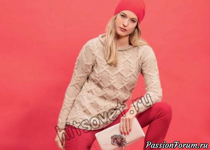 Свитер с аранами женский, хитсовет, араны, вязание спицами, свитера спицами, свитера