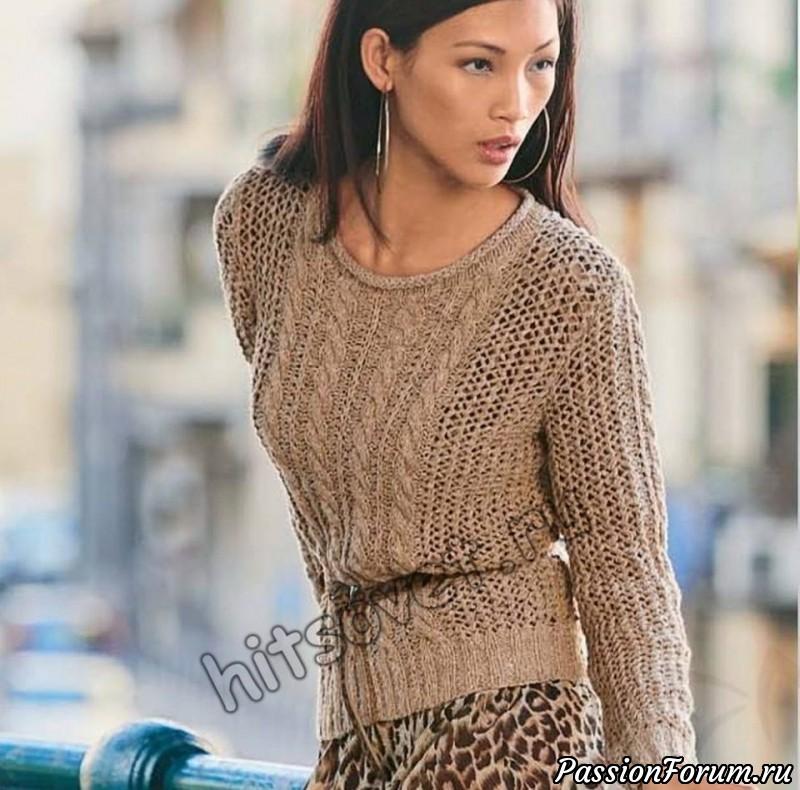 Пуловер сетчатым узором, хитсовет, вязание спицами, пуловер женский