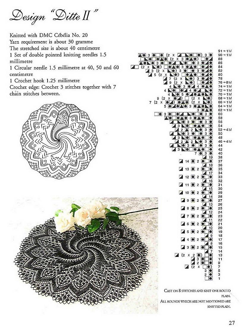 Вязание салфеток на двух спицах 24