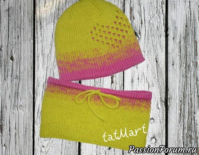 Весенний комплект шапка+ снуд для девочки., шапка, шапка бини, шапка спицами, для девочки ., для девочек, снуд детский, снуд спицами, весенний набор, мастер класс, описание вязания