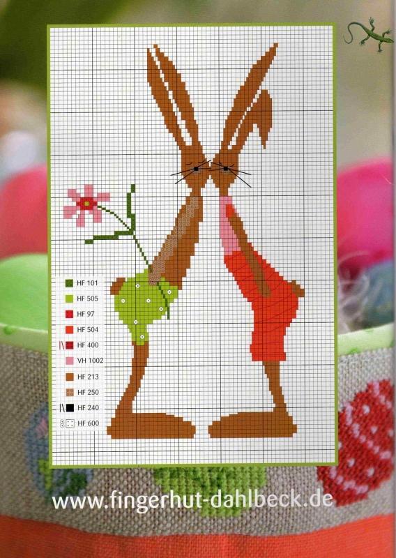 Схема вышивки зайцев бесплатно