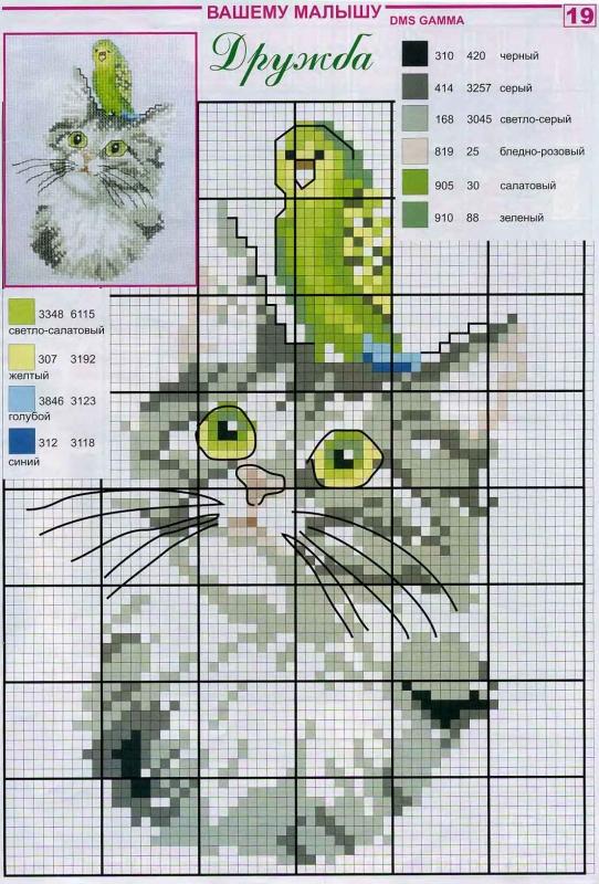 схемы котиков для вышивания крестиком