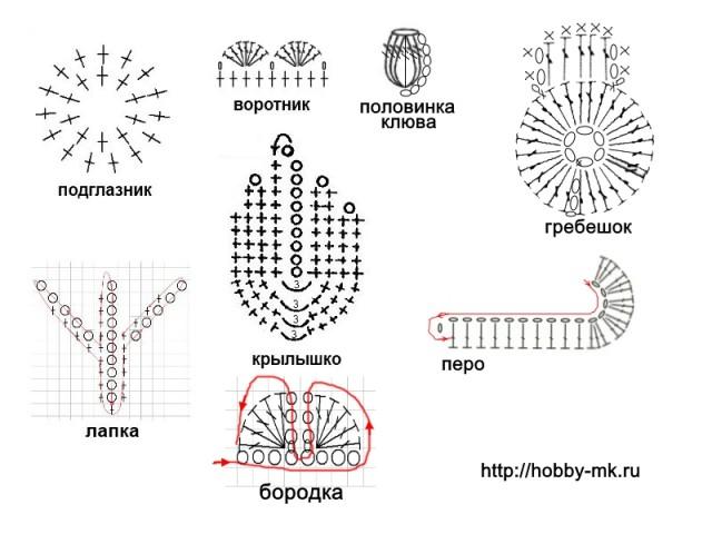 Обвязываем низ петуха  1 ряд: Вяжем оранжевыми нитками. На скользящей петле вяжем 10 ст.б.н. и стягиваем. 2 ряд: В каждый столбик предыдущего ряда провязываем по 2 ст.б.н. Всего получается по кругу 20 столбиков.  3 ряд: В каждый нечетный столбик предыдущего ряда провязываем по 2 ст.б.н, в каждый четный — по 1 ст.б.н. Всего получается по кругу 30 столбиков.  4 ряд и до достижения нужной длины: вяжем по 1 ст.б.н. в каждый столбик предыдущего ряда. Примеряем на киндер-яйцо и останавливаемся, когда вязаное тельце полностью закроет нижнюю половинку пластиковой коробочки. Последним провязываем полустолбик, делаем узелок и обрезаем нить.  Обвязываем верх петушка  1 ряд: Вяжем желтыми нитками. На скользящей петле вяжем 10 ст.б.н. и стягиваем.  2 ряд: В каждый столбик предыдущего ряда провязываем по 2 ст.б.н. Всего получается по кругу 20 столбиков.  3 ряд: В каждый нечетный столбик предыдущего ряда провязываем по 2 ст.б.н, в каждый четный — по 1 ст.б.н. Всего получается по кругу 30 столбиков.  4 ряд и до достижения нужной длины: вяжем по 1 ст.б.н. в каждый столбик предыдущего ряда. Примеряем на киндер-яйцо и останавливаемся, когда вязаная голова полностью закроет верхнюю половинку пластиковой коробочки.  Приступаем к вывязыванию воротника. *Пропускаем один столбик предыдущего ряда, а в следующий провязываем 7 ст.с1н., пропускаем один столбик предыдущего ряда, в следующий столбик делаем соединительную петлю.* Повторяем от звездочки до звездочки, пока не завершим круг. Узорчатая шейка готова (см. схему).  Подглазник  1 ряд: Из белых ниток на скользящей петле сделать 10 ст.б.н. Затянуть так, чтобы не осталось отверстия в середине. Два крайних столбика соединяем между собой соединительной петлей и даем одну воздушную петлю на подъем.  2 ряд: В каждый нечетный столбик предыдущего ряда провязываем 2 ст.б.н., в каждый четный — 1 ст.б.н. Итого в ряду должно получиться 15 столбиков. Два крайних столбика соединяем между собой соединительной петлей, делаем узелок, отрезаем нить. (См. с