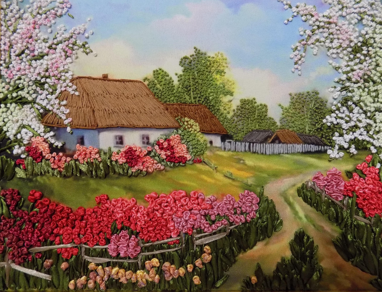 Вышивка лентами картины пейзажи 90