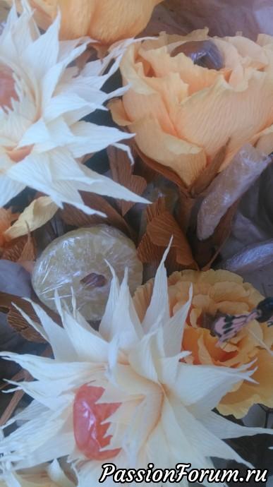 """Букет """"Горячее солнце пустыни"""", букет, букет из гофрированной бумаги, сухофрукты, подарок"""