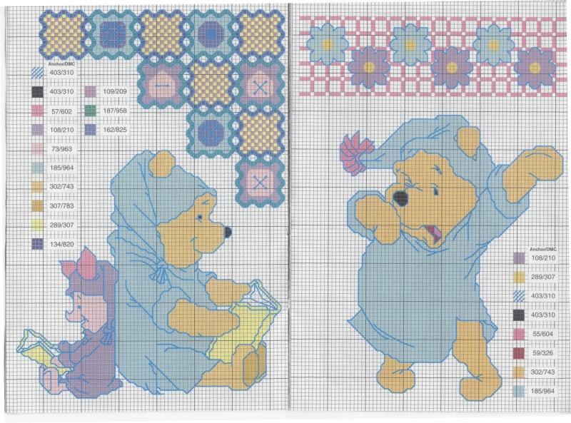 Схемы вышивки крестиком медвежат
