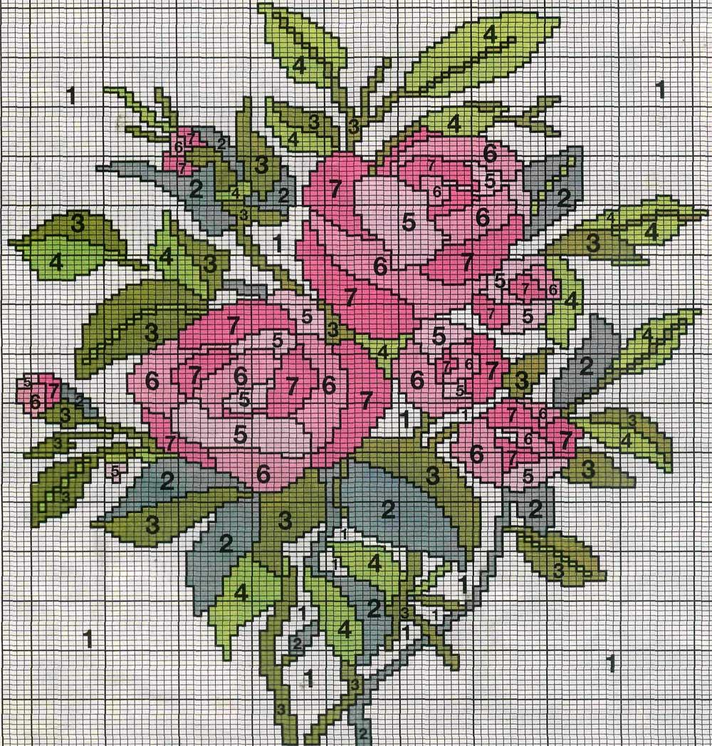 вязание орнамент цветок схема