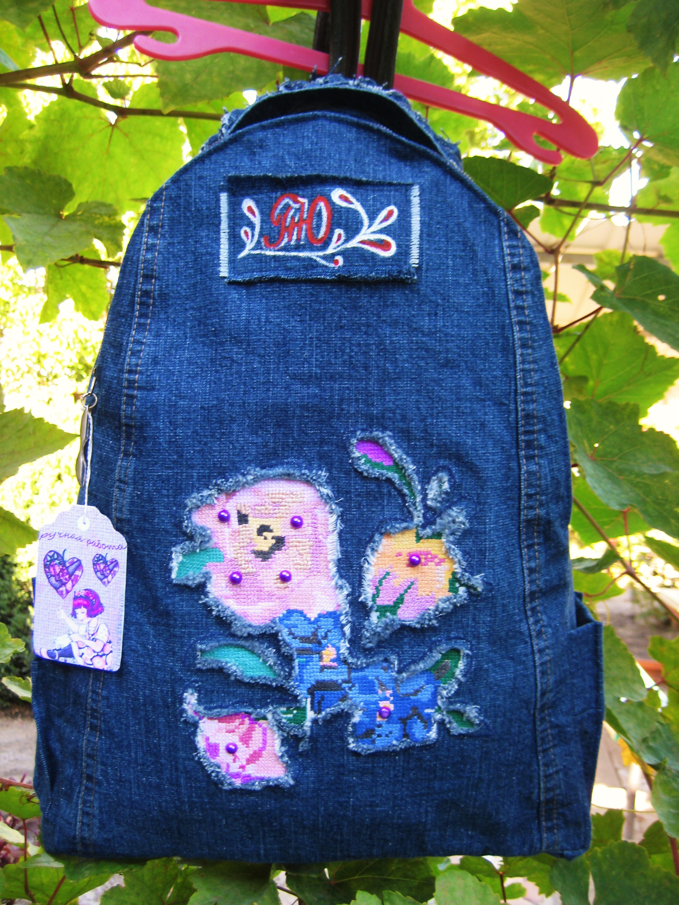 Вышивка на джинсовом рюкзаке 97