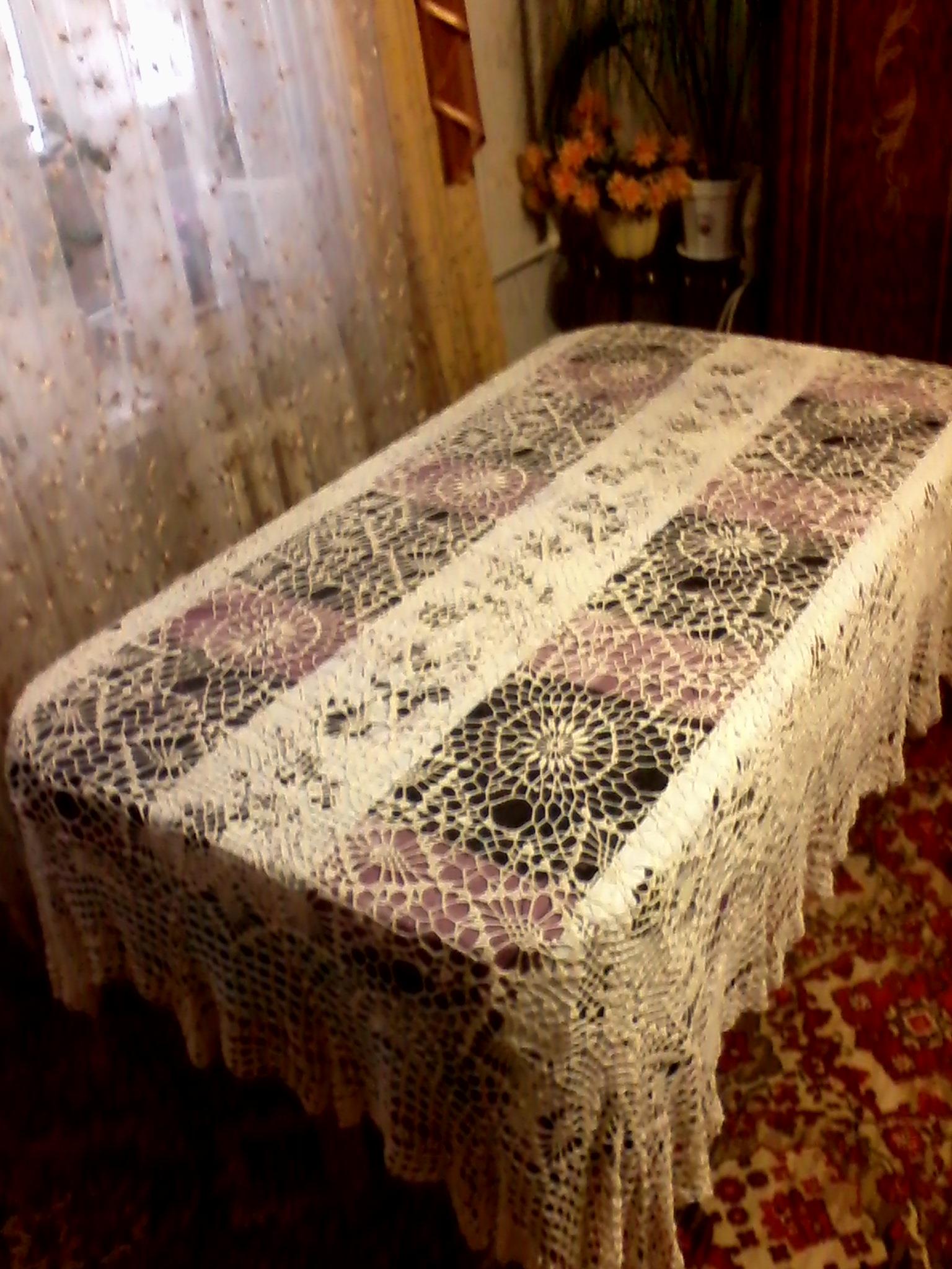 Вязание спицами покрывала скатерти