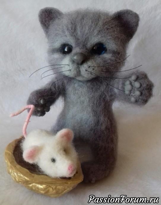 Котенок с мышкой, сухое валяние, кот, котенок, мышка