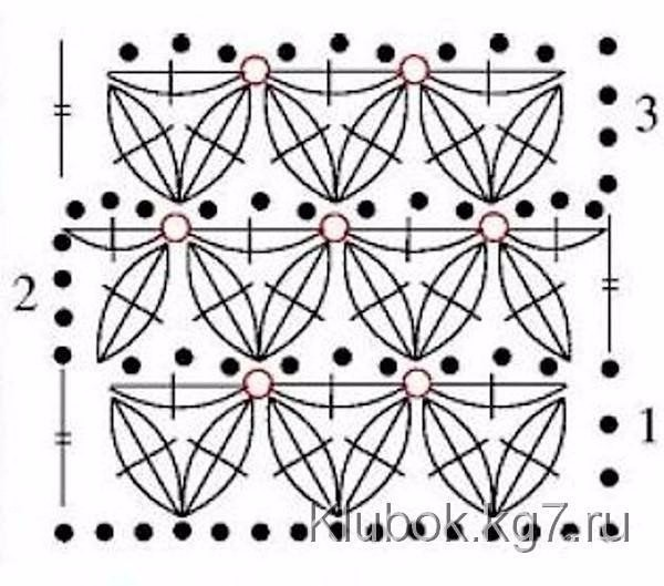 Схема вязания крючком узора звездочки