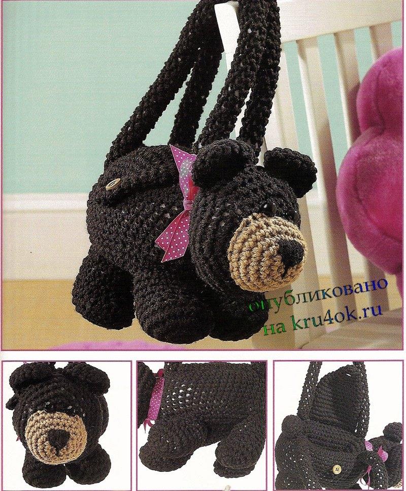 Вязаная сумка – мишка