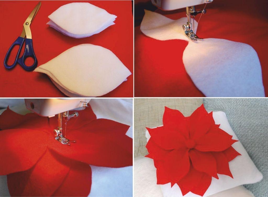 Цветок из фетра на подушку