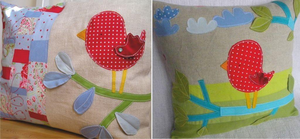 Аппликации на подушку птицы