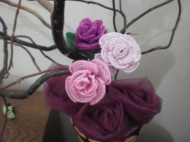 букет роз из бисера фото 1