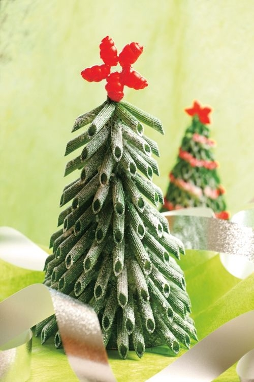 diy mini christmas tree tabletop green fake snow