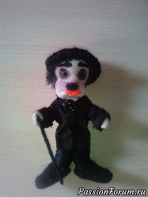 Чарли Чаплин?, кукла из ткани, своими руками, каркасная кукла