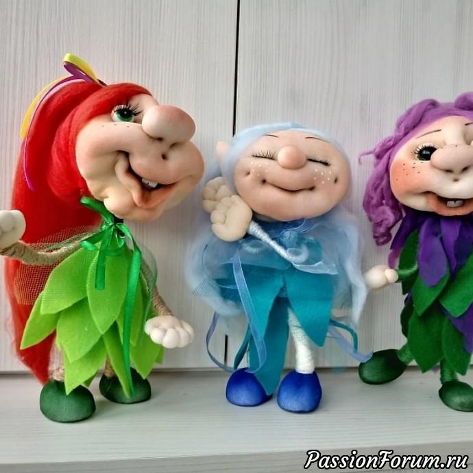 Веселые феечки, феечка, кукла, кукла из капрона, скульптурный текстиль, ручная работа