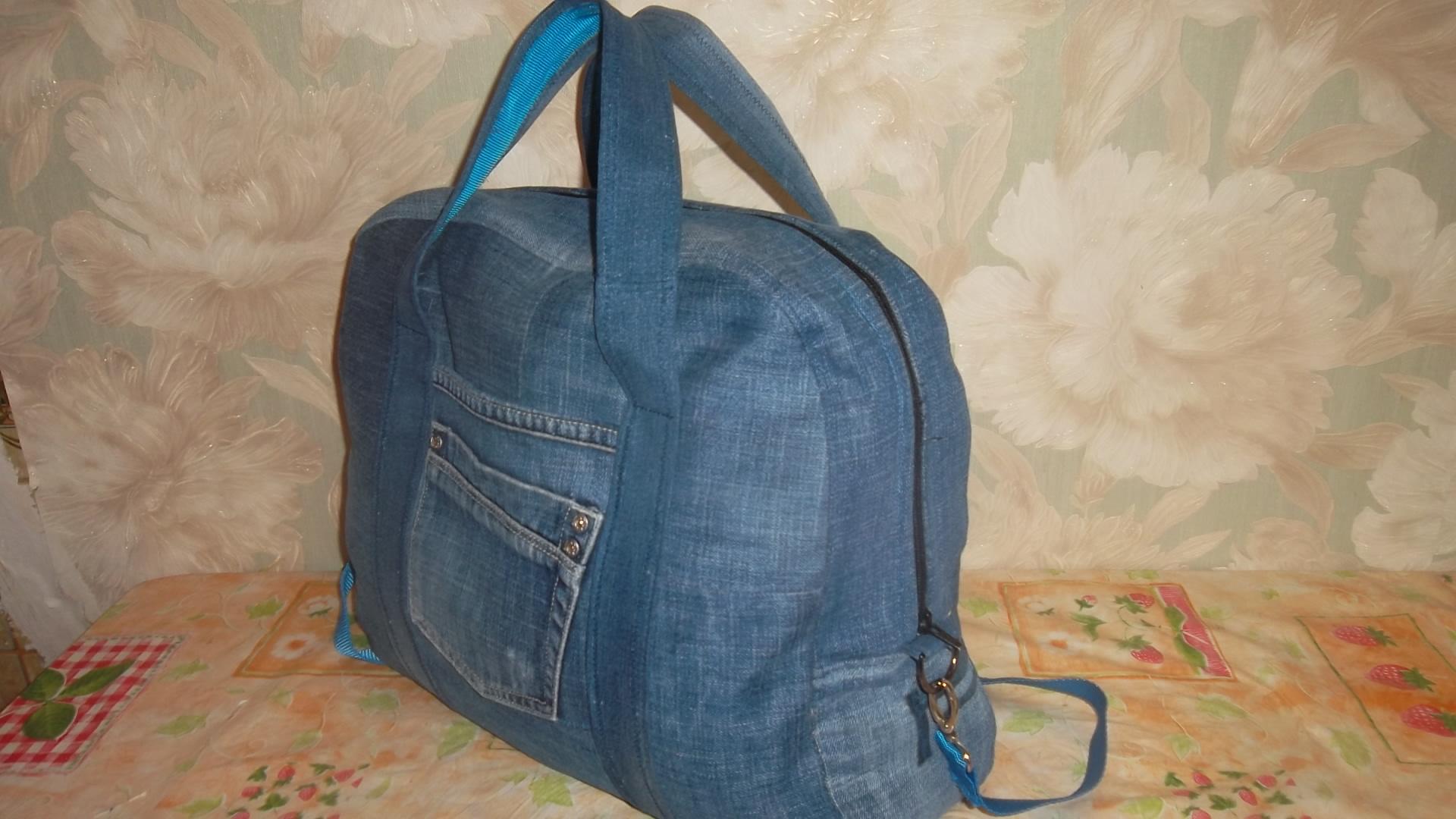Спортивная сумка из джинсов