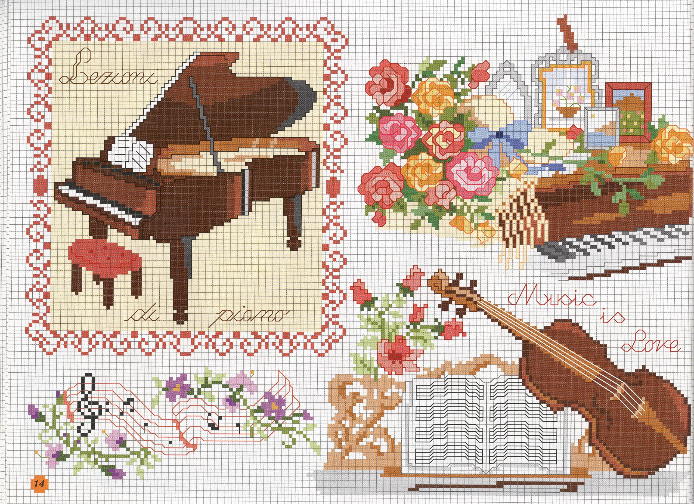 Музыкальная в вышивке схемы 814
