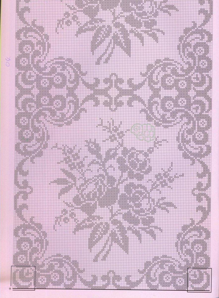 Покрывало крючком необычной красоты филейное вязание