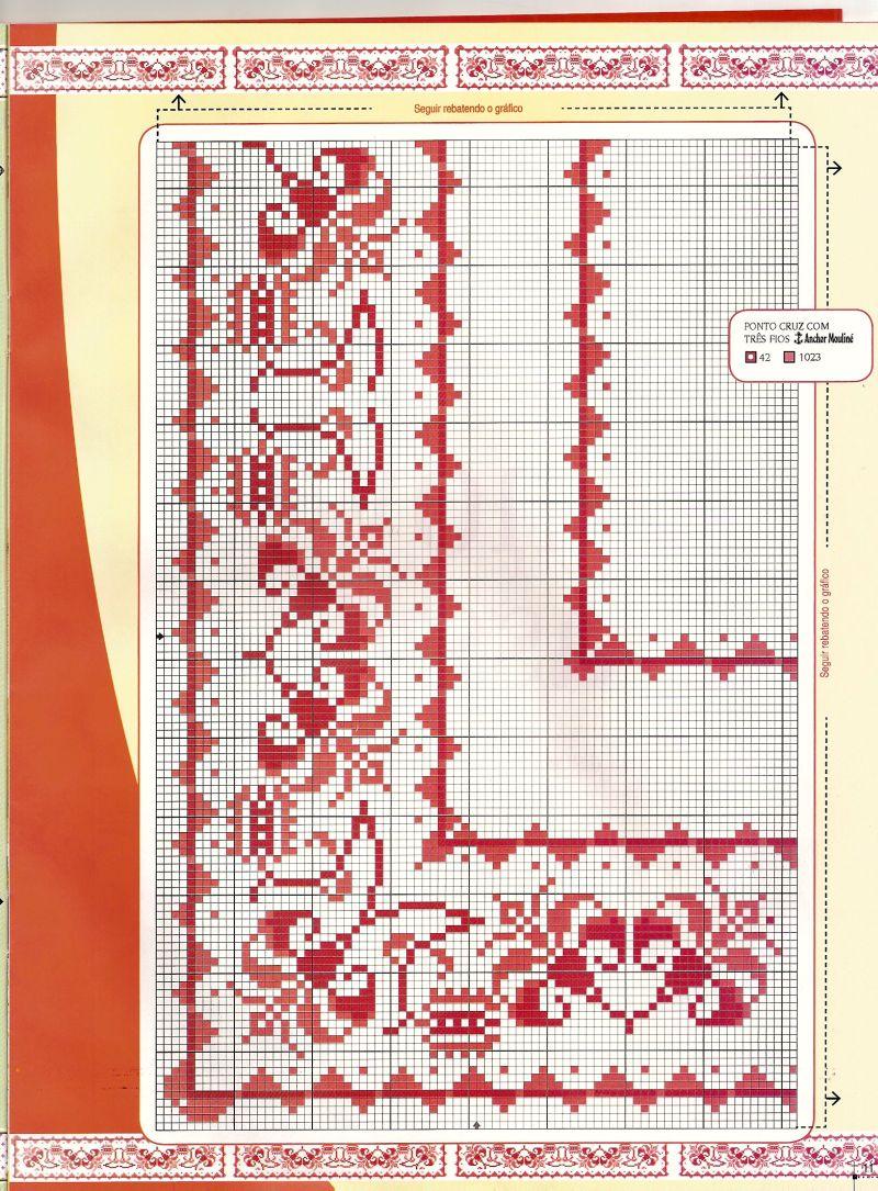 Схемы орнаментов вышивки крестом для скатертей