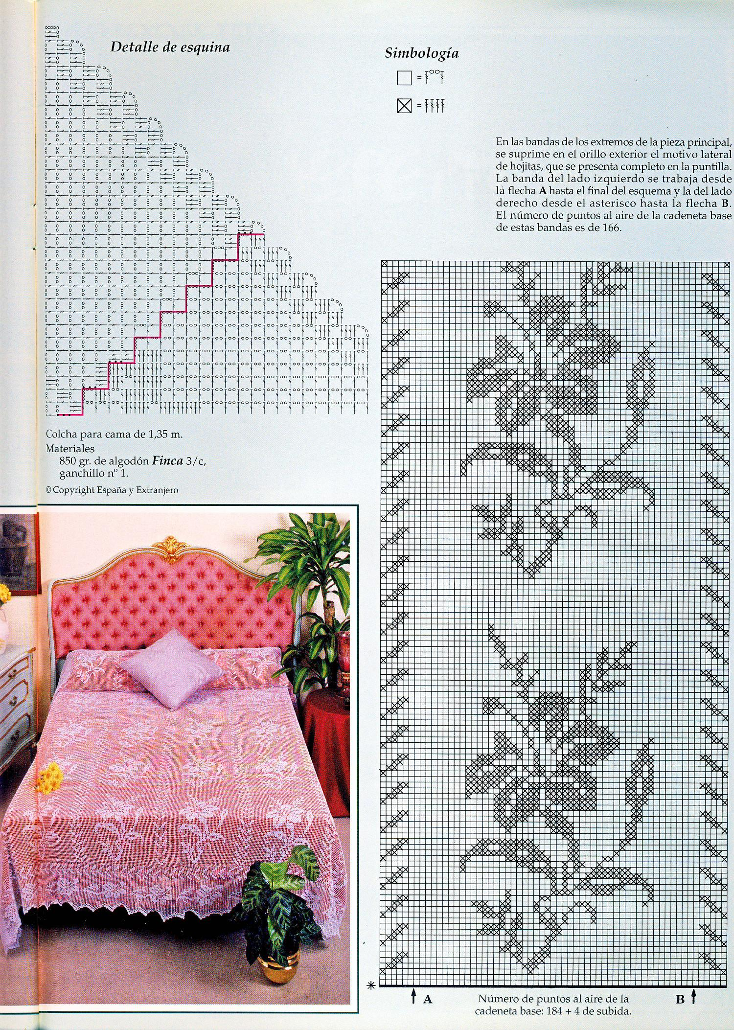 Схема вязаного покрывала на кровать