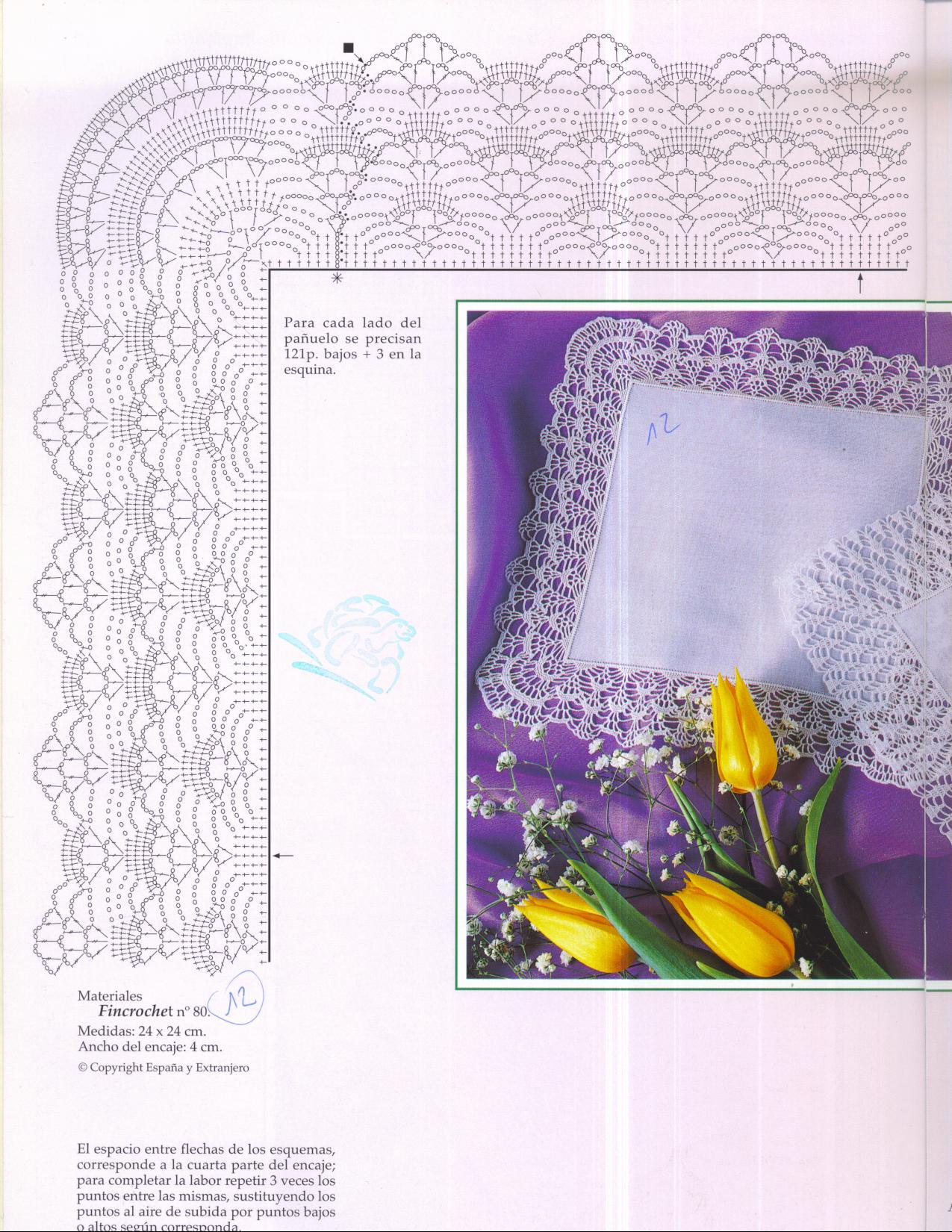 Обвязать носовой платок крючком схема