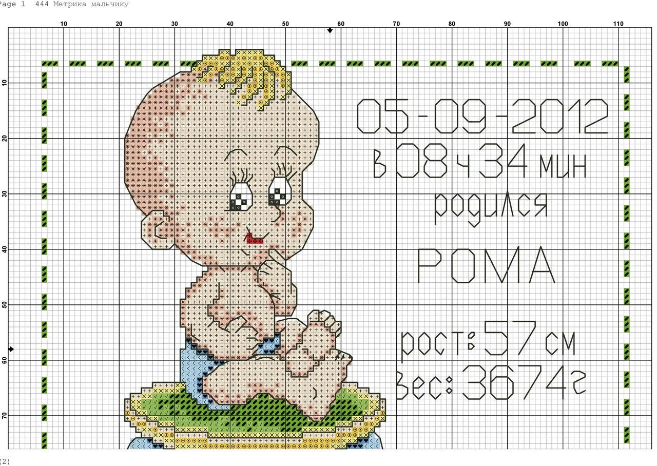 Вышивка крестом рождение ребенка схема с именем 55