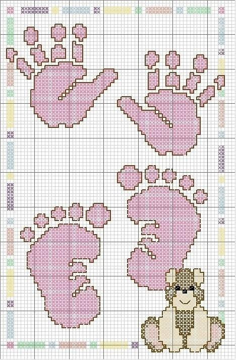 Схема вышивки крестом следы 40