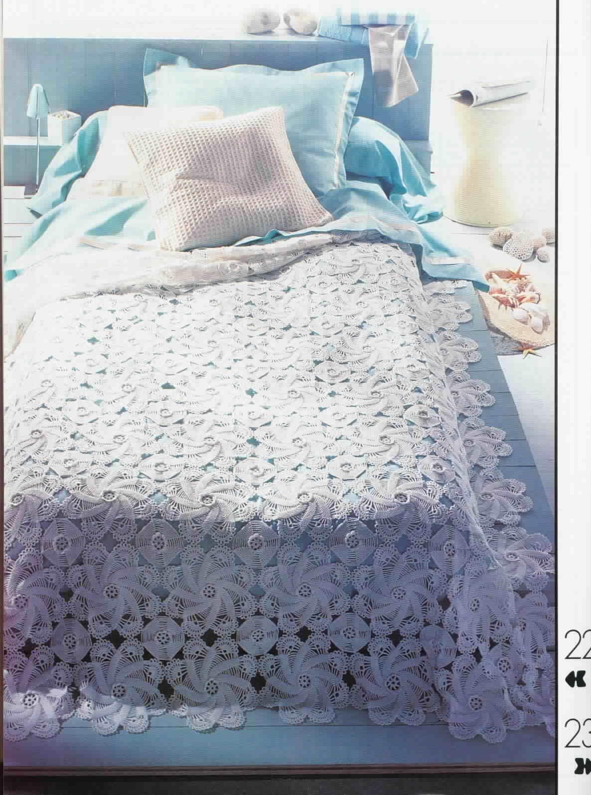 Покрывало на кровать крючком фото и