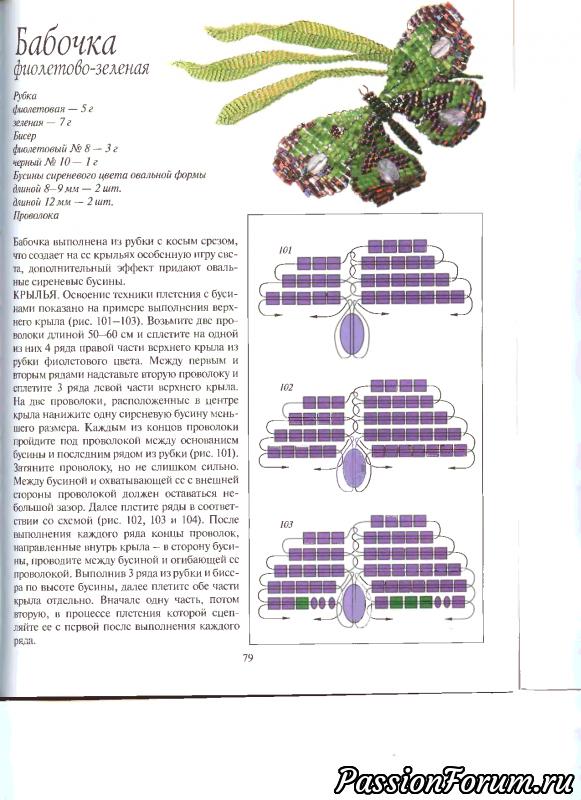 Бабочка фиолетово-зеленая
