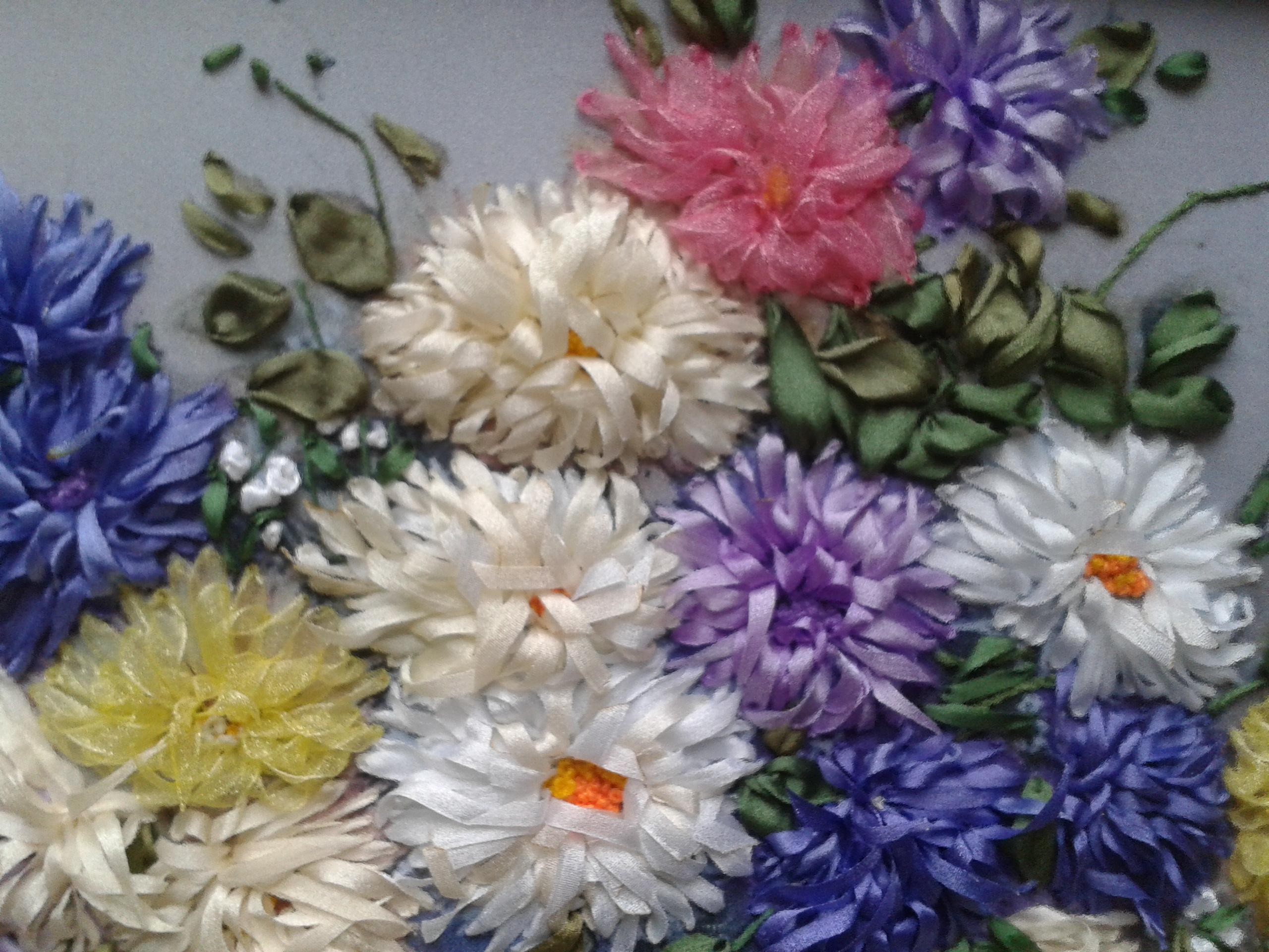 Вышивка лентами фото готовых работ хризантемы