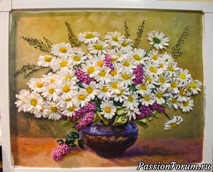 И снова мои любимые ромашки))), вышивка лентами, вышитые цветы, вышитые картины., вышивка, ромашки вышитые лентами