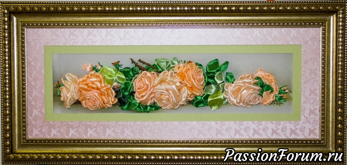 Роскошные розы, вышивка лентами, вышитые розы