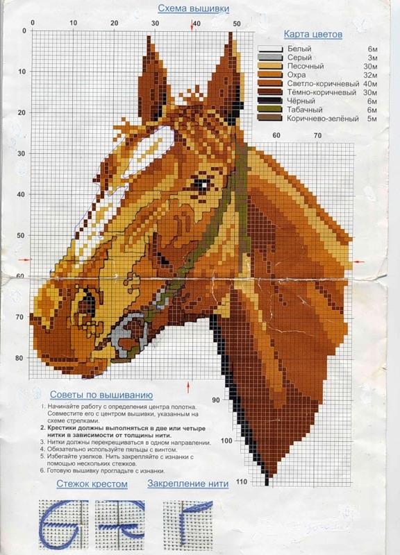 вышивки лошадей. Все схемы