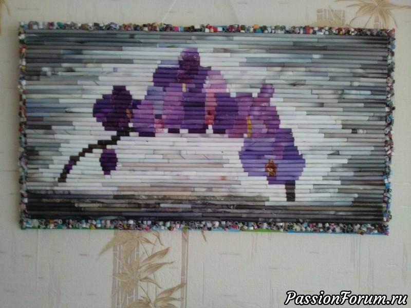 """Панно из трубочек """"Орхидея"""", панно, орхидеи, трубочки бумажные, цветы, для интерьера."""