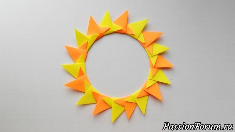 Оригами солнце из бумаги, оригами, из бумаги, солнце, звезда