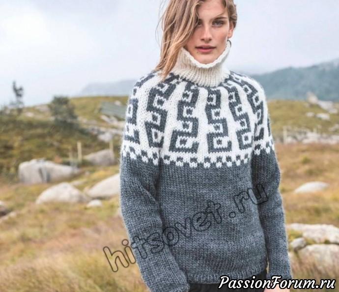 Вязание свитера с круглой кокеткой, хитсовет, вязание спицами, свитер женский