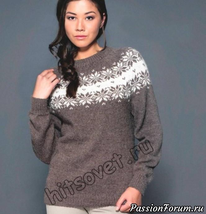 Пуловер с круглой жаккардовой кокеткой, пуловер женский, жаккард, вязание спицами, хитсовет