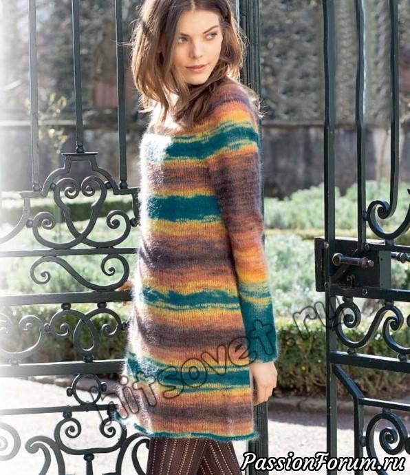 Платье с круглой кокеткой спицами, хитсовет, вязание спицами, платья