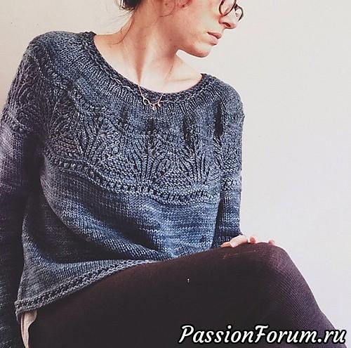 Пуловер без швов с круглой ажурной кокеткой спицами, вяжиру, вязание, пуловер женский