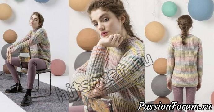 Меланжевый свитер, хитсовет, вязание спицами, свитер женский
