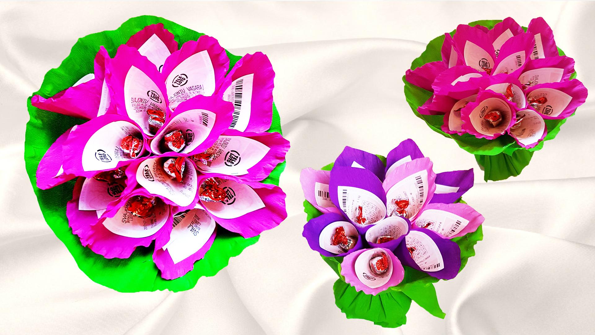 Подарки из бумажных цветов конфет