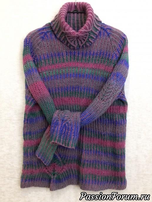 Свитер в технике brioche, свитер, бриошь, английская резинка, ручная работа, связано спицами, авторский дизайн, теплый свитер, секционная пряжа